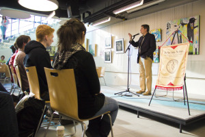 Sen. Mark Begich spoke to students early in the day Friday, before the Rock Your Rights event.  Photo by Sam Allen