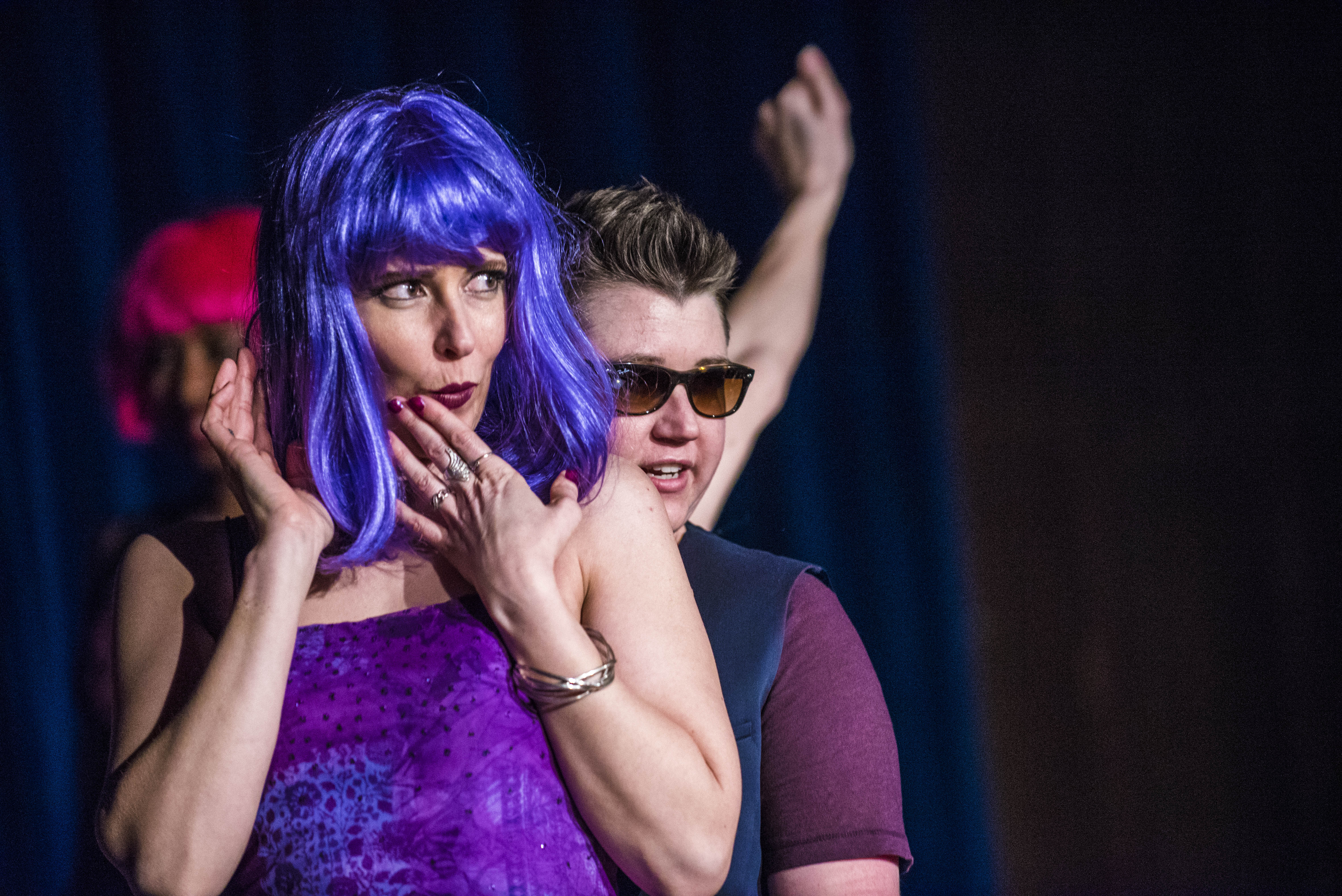 Two students dance during an act around the beginning of GSA's 2015 Drag Show. Acts ranged from lip syncing to dancing and performing. - Zayn Roohi / Photo Editor
