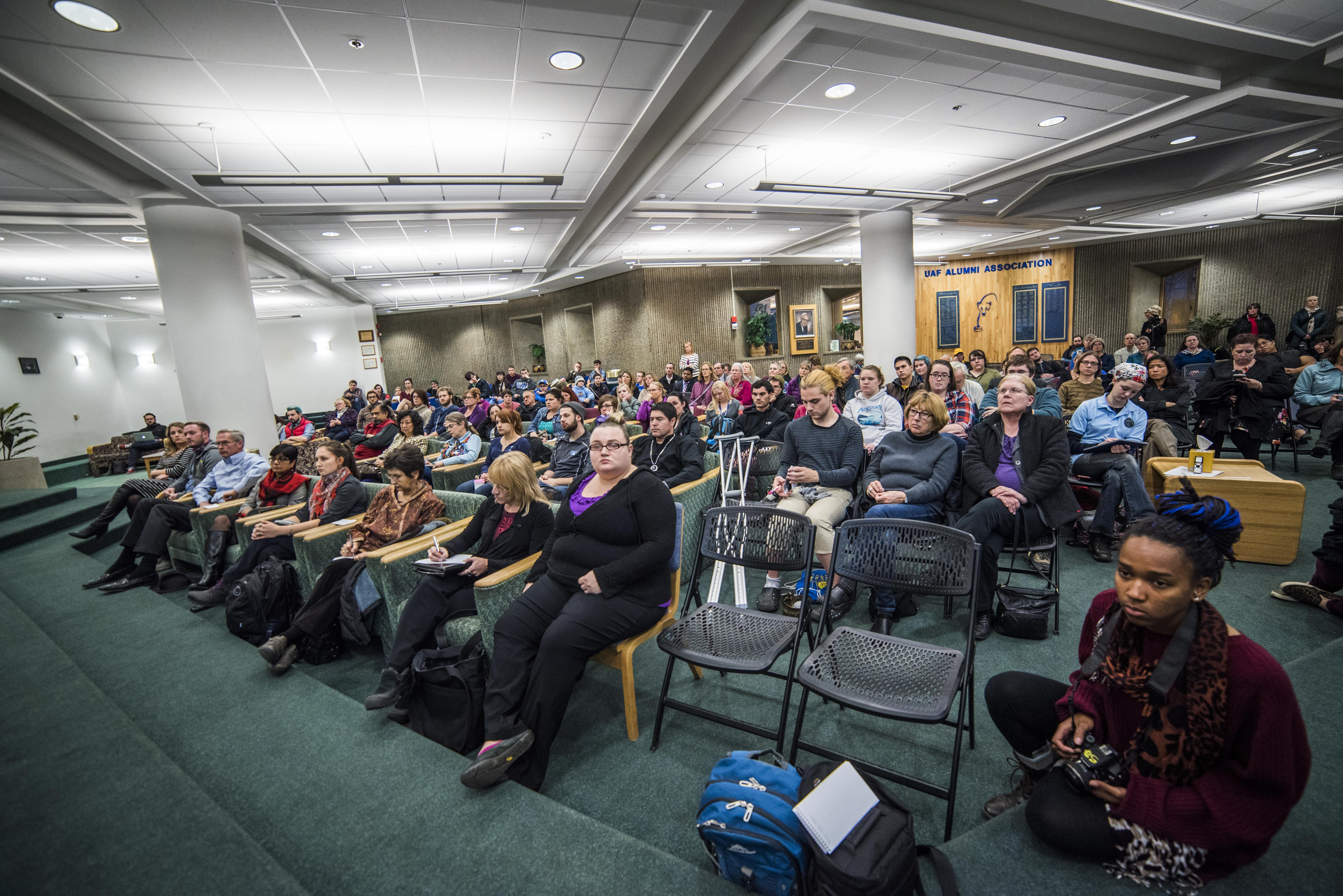Students, staff, Fairbanks citizens and past UAF students gathered in the Wood center multilevel lounge on Oct. 21 for a town hall meeting on sexual assult. - Zayn Roohi / Photo Editor